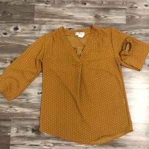 Jon & Anna mustard yellow 3/4 sleeve blouse size M